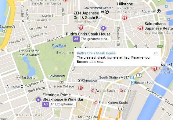פרסומות על מפות גוגל